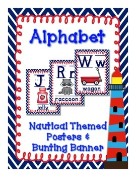 Nautical (Navy and Red) Theme Alphabet Posters and Bunting