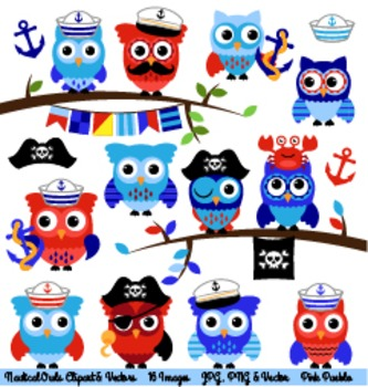Nautical Owl Clipart Clip Art, Sailor and Pirate Owls Clip