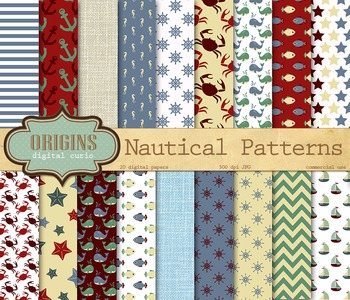 Nautical Patterns Digital Paper, Nautical Ocean Backgrounds