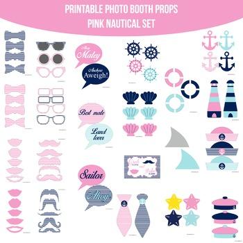 Nautical Pink Printable Photo Booth Prop Set