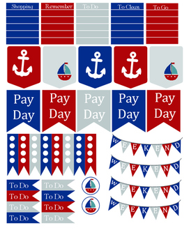Nautical Printable Planner Stickers
