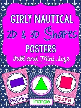 Nautical Shape Posters 2d and 3d Shapes - Girly Pink and Navy