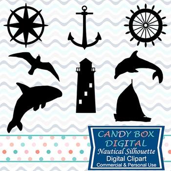 Nautical Silhouette Clip Art, Includes SVG File For Cuttin