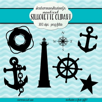 Nautical Silhouette Clipart, commercial use