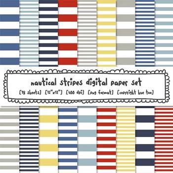 Nautical Stripes Digital Paper, Red, Navy Blue, Yellow Str