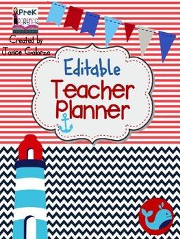 Nautical Teacher Planner - EDITABLE