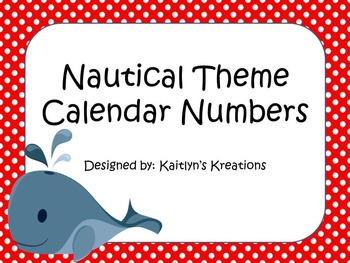Nautical Theme Calendar Numbers (Multiple Sets)