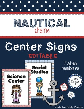 Nautical Theme - Editable Center Signs and Table Numbers-