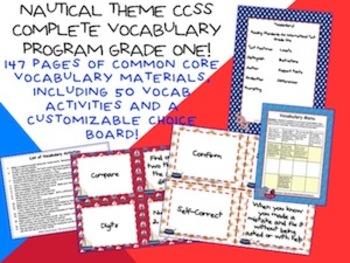 Nautical Theme Grade One CCSS Complete Vocabulary Program