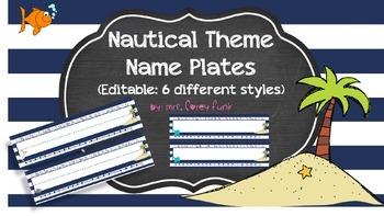 Nautical Theme Name Plates Ocean Theme Beach Theme EDITABL
