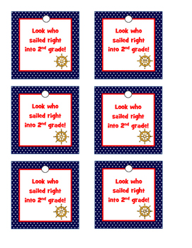 Nautical Theme Open House or Meet the Teacher Gift Tags 2nd Grade