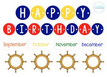 Nautical Themed Birthday Bulletin/Tracker