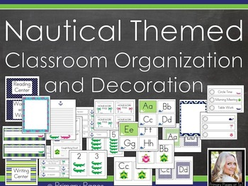 *EDITABLE* Nautical Themed Classroom Decoration and Organi