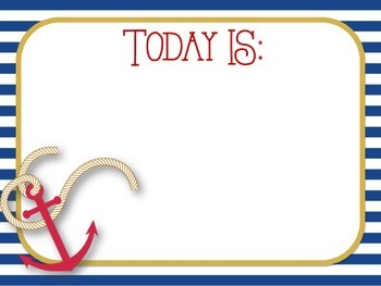 **Nautical Themed** Days of the Week (Today is, Yesterday