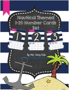 Nautical Theme Number Set 1-20 Chalkboard Theme Ocean Them