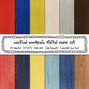 Nautical Woodgrain Digital Paper, Red, Blue, Yellow, Rusti