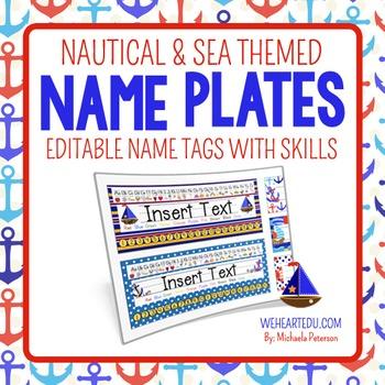 Nautical and Sea Theme Desk Name Plates {editable name tag