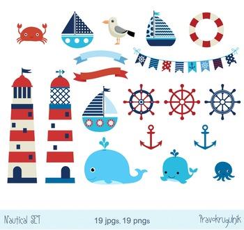 Nautical clipart set, Sailboats clip art, Lighthouse digit