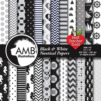 Nautical digital papers in black and white, Coastal papers