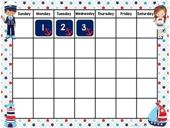 Nautical kids Calendar Set