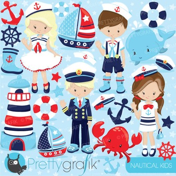 Nautical kids clipart commercial use, vector graphics, dig