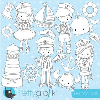 Nautical kids stamps commercial use, vector graphics, imag