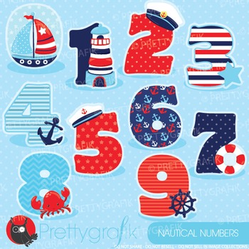 Nautical numbers clipart commercial use, graphics, digital