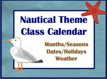 Nautical or Beach Theme Calendar Set