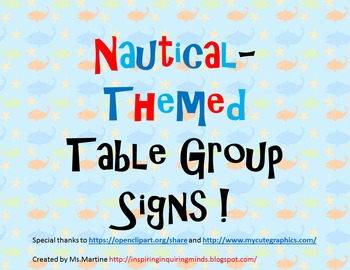 Nautical or Ocean Themed Table Group Signs
