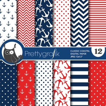 Nautical papers, commercial use, scrapbook papers, coastal