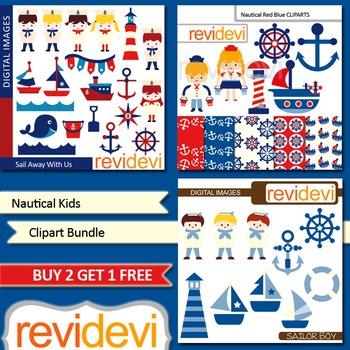 Nautical sail away kids clip art (3 packs) sailor, boat, a