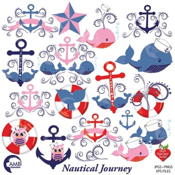 Nautical Clipart in red and blue, Sailing Clipart, Coastal