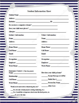 Nautical/Anchors Theme - Student Information Sheet
