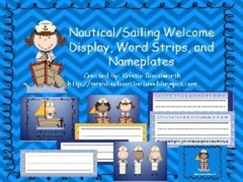 Nautical/Sailing Welcome Hall Display, Desk Nameplates, Wo