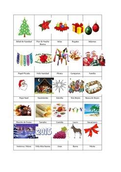 Navidad Vocabulary with Pictures.  Vocabulario de Navidad