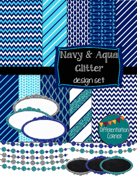 Navy & Aqua GLITTER Design Set digital paper banners and labels