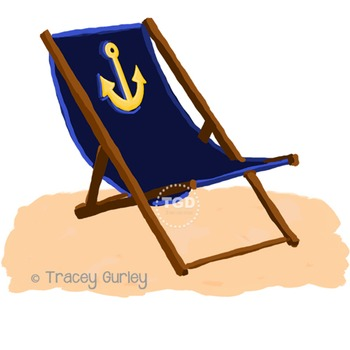 Navy Beach Chair with Anchor - with and without Sand Print