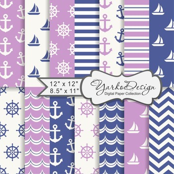 Navy Blue And Lilac Nautical Digital Paper Pack, Geometric