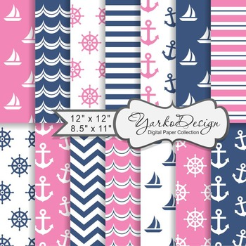 Navy Blue And Pink Nautical Digital Paper Pack, Geometric,
