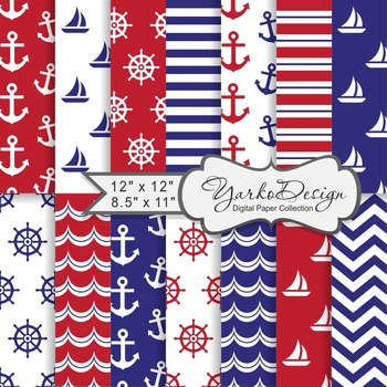 Navy Blue And Red Nautical Digital Paper Pack, Geometric,