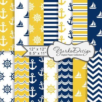 Navy Blue And Yellow Nautical Digital Paper Pack, Geometri