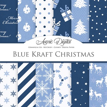 Navy Blue Christmas Digital Paper patterns - flower light