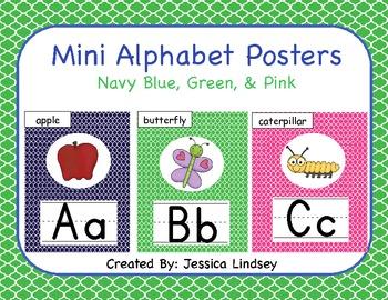 Navy Blue, Green, & Pink Alphabet Posters