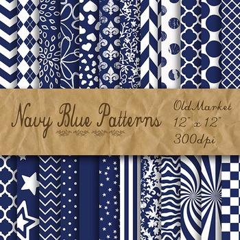 Navy Blue Pattern Designs - Digital Paper Pack - 24 Differ