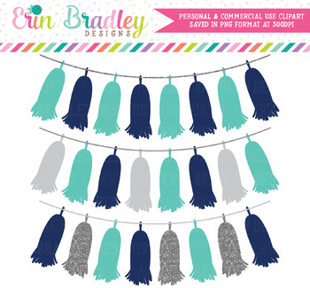 Navy Blue & Silver Tassel Clipart Banners