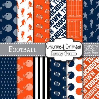 Navy Blue and Orange Digital Paper 1424