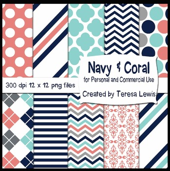 Navy & Coral Paper