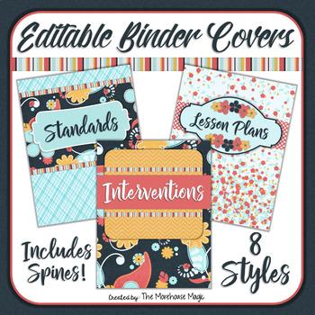 Navy & Coral Teacher Binder Covers - Editable!