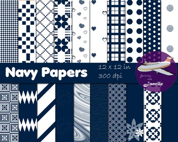Navy Digital Papers for Backgrounds, Scrapbooking and Clas