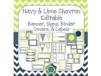 Navy & Lime Chevron and Dot EDITABLE Banner, Signs, Binder